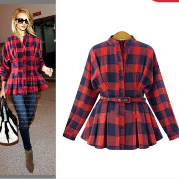 Fall Fashion Long Sleeve Slim Shaped Checked Shirt [9068281924]