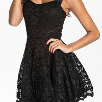 Black Floral Pattern Cut Out Lace Dress