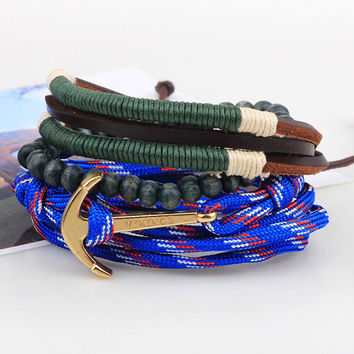 Anchor Faux Leather Layered Bracelets