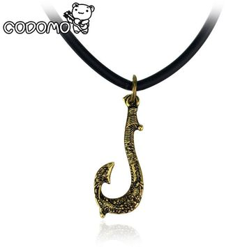 Moana Maui fishing hook Necklace action figure toys 2017 New Maui weapon Hook cosplay model Oyuncak for kids party supply gift