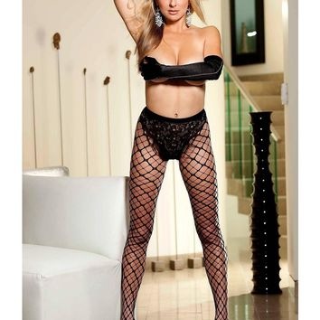 Shirley of Hollywood IS-SOH-90239 Cubed Diamond Fishnet Pantyhose