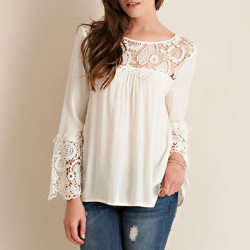Floral Crochet Detail Top - Ivory