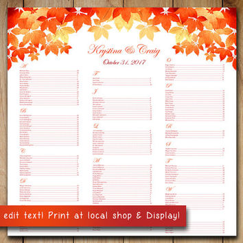 Autumn Wedding Seating Chart Template | Watercolor Fall Leaves Red Burnt Orange Microsoft Word Template | You Print - 22x22 Wedding Download