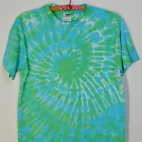 Tie Dye Tee Tshirt Hippie Boho Soft Grunge Flower Child Spiral Green Blue Trippy Psychedelic 420 Retro Womens Mens Unisex