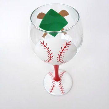 Handpainted Baseball or softball wine glass