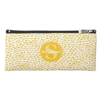 Monogrammed Yellow Dash Pattern Pencil Case