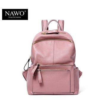 NAWO New Fashion Genuine Leather Backpack Women Bags Preppy Style Backpack Girls School Bags Zipper Shoulder Women's Back Pack