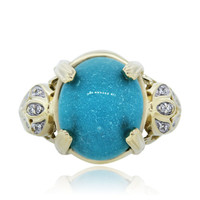 14k Yellow Gold Turquoise and Diamond Cocktail Ring