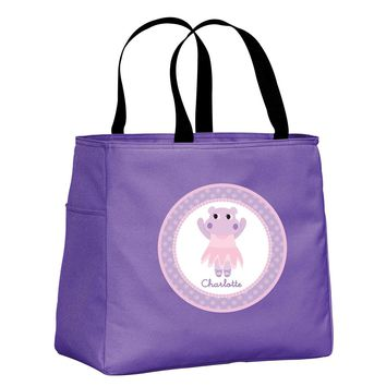 Dancing Hippo Personalized Lavender Tote Bag