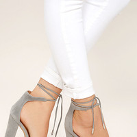 Angela Grey Suede Lace-Up Heels
