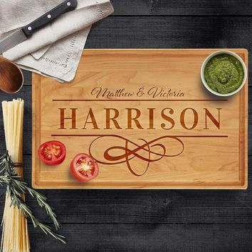 Personalized Cutting Board, Last Name & Names - Engraved Gifts for Parents Natural Wood Cutting Board Wedding, Christmas, Housewarming