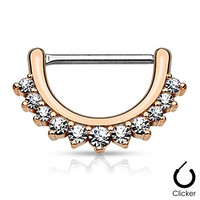 "Pair Body Jewelry 14ga (1.6mm) 1/2""(12mm) Nipple Bar Clicker Ring or Barbell CZ Paved Curve Rose Gold over 316l Surgical Steel"
