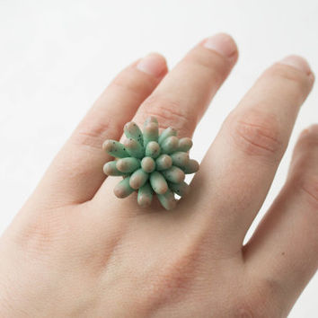 Blue Succulent Ring Wholesale Statement Planter Succulent Ring Succulent Jewelry Birthday Wedding Birdal Gifts Women Ring