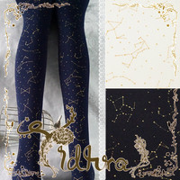 Yidhra Galaxy River Three Color (Black Blue White) Printed Velvet Lolita Pantyhose Tights