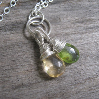 Peridot and Citrine Necklace, Sterling Silver Wire Wrapped Jewelry, 18 inches, Choose Your Length