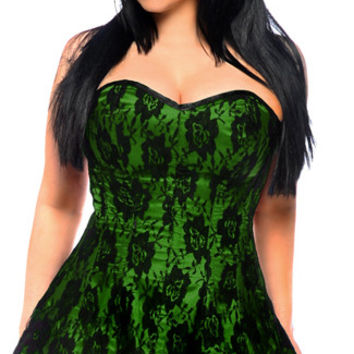 Plus Size Green Lace Corset Dress