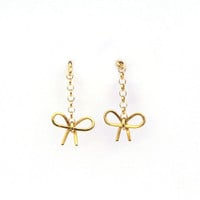 I liked this design on #Fab. Bow Chain Earrings Gold
