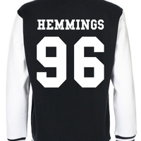 LUKE HEMMINGS 5 Seconds of Summer fashion teenage indie dope swag tumblr back and front print baseball american Varsity Jacket