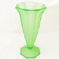 Vintage Frosted Green Glass Vase, Art Deco Vase, Davidson Glass Vase, UK Seller