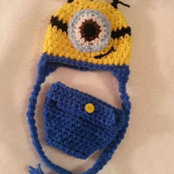 Newborn Minion hat Set diaper cover photo prop Crochet newborn or 0-3 mo baby set Despicable Me Movie