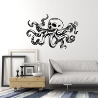Vinyl Wall Decal Octopus Skull Tentacles Marine Monster Art Stickers Mural (ig5311)