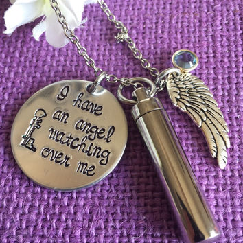 Cremation Jewelry - Fallen soldier Memorial - Military Cross - Remembrance Necklace - I have an angel watching over me - Soldier family