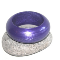 Heavy Vintage Lucite Bangle, Purple Chunky Bracelet, Shine, Antique Alchemy