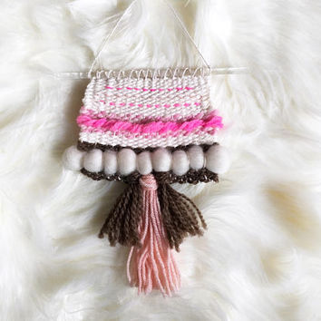 MINI Woven Wall Hanging / Woven Wall Art Tiny / Miniature Weaving / Hot Pink, Coral, Ivory, Brown