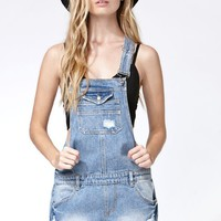 Some Days Lovin Denim Short Overalls - Womens Shorts - Blue