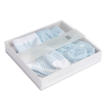 BLUE TONAL COTTON BABY SOCKS 3 PK