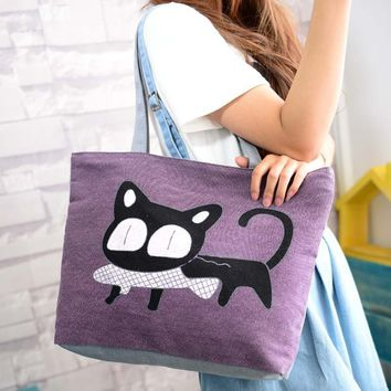 Special Cartoon Cat Fish Canvas Handbag Preppy School Bag for Girls Women's Handbags Shopping bag Cute Shoulder Tote Handbags