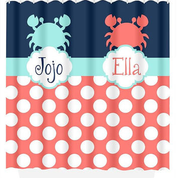 SHOWER CURTAIN Custom Monogram Ocean Nautical CRAB Navy Coral Aqua Brother Sister Bathroom Beach Towel Plush Bath Mat Made in Usa