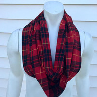 Red-Women's-Handmade-Flannel-Infinity-Plaid-Scarf-Chunky-Fall-Winter-Accessories-Gifts for Her