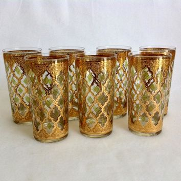 Culver Glass Valencia 22K Gold Mid Century Highball Tumblers Set of Seven
