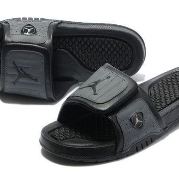 PEAPGE2 Beauty Ticks Nike Jordan Hydro Xiv Black/gray Sandals Slipper Shoes Size Us 7-13