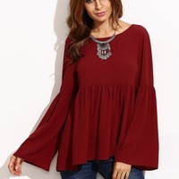 Flare Sleeve Womens Solid Blouse Burgundy