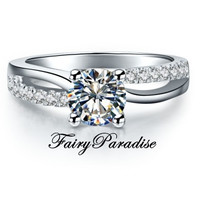 1 Ct Round Cut man made Diamond Art Deco Engagement Wedding Promise Ring with gift box - made to order