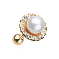 Golden Pearl Blossom Sparkle Cartilage Tragus Earring Helix 18ga Surgical Steel