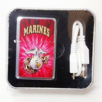 Marines Pocket USB Powered Lighter Metal United States US Military Marine Corp