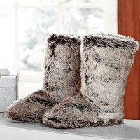 Faux Fur Booties, Grey Ombre