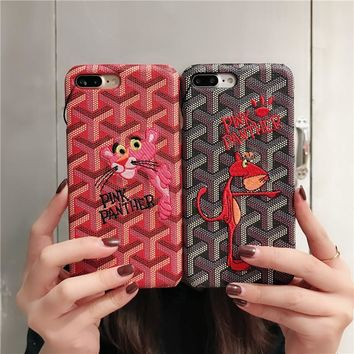 Goyard Personality Leather Embroidery Cartoon Pink Panther iPhoneX/8/6S Hard Phone Case iPhone7 Plus Couple Apple Phone Shell