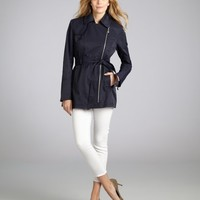 navy cotton blend belted asymmetric zip trench coat