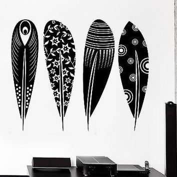 Wall Decal Birds Feather Cool Tribal Ornament Mural Vinyl Decal Unique Gift (z3170)