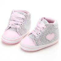 Casual Infant Baby Girls Shoes Princess Polka Dots Spring Autumn Toddler Newborn Lace-Up First Walkers Sneakers Shoes LM57