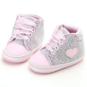 Baby Girls Polka Dots Heart Sneaker Shoes