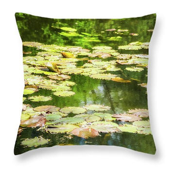 Lily Pond Pillow. Green Nature Photo Art Pillow Cover. Lily Pond Seat Cushion. Green Nature Outdoor Seat Cushion. Green Nature Pillow Cover