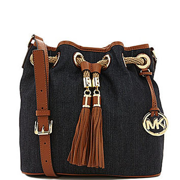 MICHAEL Michael Kors Marina Denim Medium Messenger Cross-Body Bag - De
