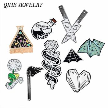 QIHE JEWELRY origami,you wish dandelion,coffin heart,spiderweb,rose,dagger Enamel pins Brooches Pins collection Punk jewelry