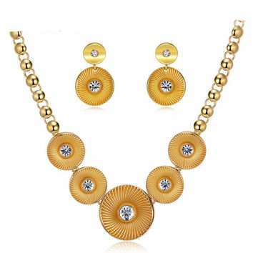 Round Jewelry Set Rhinestone Chain Necklaces Dangle Earrings Bridal Wedding Party Set