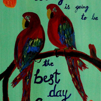 Valentine gift sale Colorful Motivational Macaws art Acrylic painting Inspirational quote Canvas quotes Wall decor Love birds canvas art